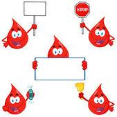 Blood Drops Cartoon Characters — Stock Photo