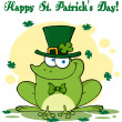Happy Leprechaun Frog Greeting Card — Stock Photo