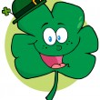 Happy Smiling St Patricks Day Clover Wearing A Hat — Stock Photo
