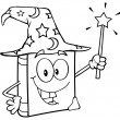 Outlined Wizard Book Cartoon Character Holding A Magic Wand — Stock Photo