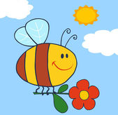 Pszczoła latający z kwiatem w niebo — Zdjęcie stockowe