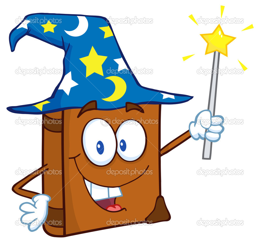 Wizard book cartoon character holding a magic wand stock for Static wand
