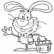 Outlined Waving Bunny With Easter Eggs And Basket - Stock Photo