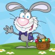 Stock Photo: Waving Gray Bunny