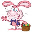 Pink Bunny With Easter Eggs — Stock Photo #9574927