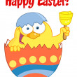 Happy Easter Chick In An Orange Shell Ringing A Bell — Stock Photo #9575200