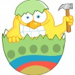 Yellow Easter Chick Holding A Hammer In A Green Shell — Stok fotoğraf