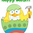 Happy Easter Chick Holding A Hammer In A Green Shell — Stock fotografie