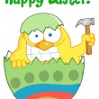 Happy Easter Chick Holding A Hammer In A Green Shell — Stok fotoğraf