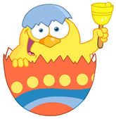 Happy Yellow Chick Peeking Out Of An Easter Egg And Ringing A Bell — Stock Photo