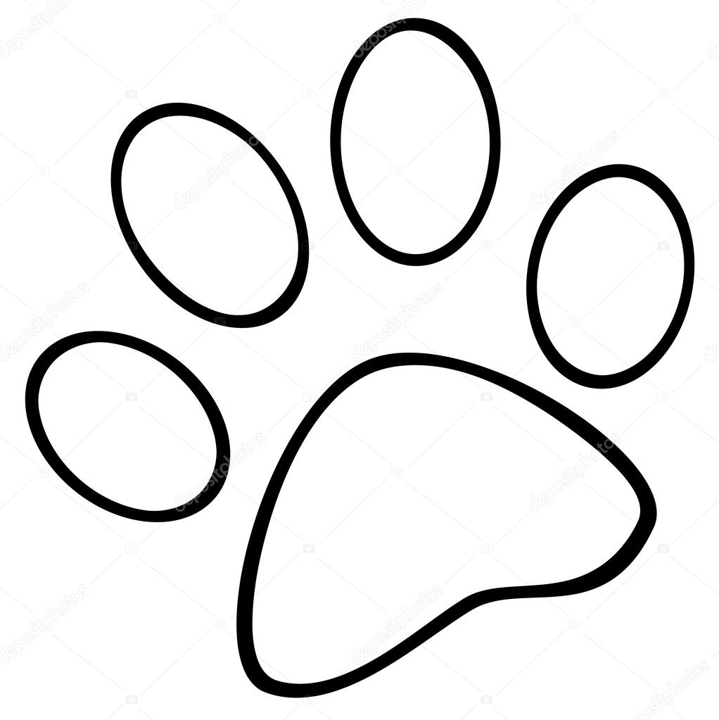 Dog Paw Print Outline Polar Bear Coloring Page