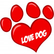 Love Paw Print With Text — Stock Photo #9793792