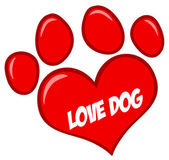 Love Paw Print With Text — Stock Photo