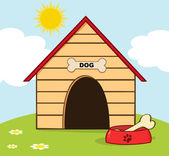 Dog House With Bowl On A Hill — Stock Photo