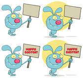 Happy Rabbit Holding Up A Blank Sign.Collection — Stock Photo