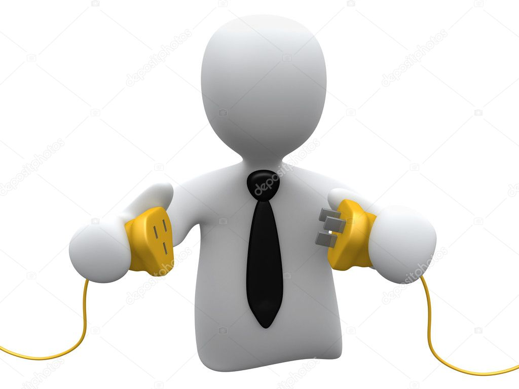 3d person ready to connect to power cables . — Stock Photo #10129097