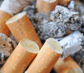 烟嘴两端和灰烬 — 图库照片