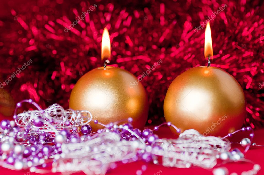 Two golden candles - christmas still life . — Stock Photo #8173441