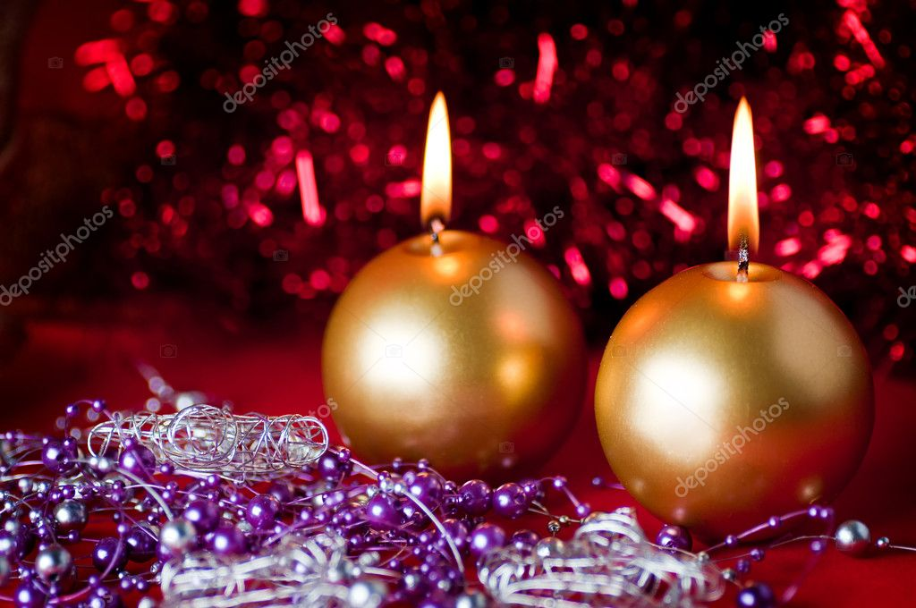 Two golden candles - christmas still life .  Stock Photo #8173837