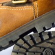 Winter leather boots. - Stock Photo