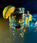 Tequila , lime and ice. — Stock Photo