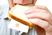 Que se puede colocar en un sándwich - tu dinero. — Foto de Stock