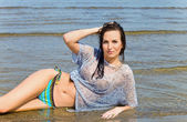 Woman on a beach. — Stock Photo