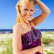Happy womin purple sundress . — Stock Photo #9639189