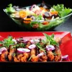 Shashlik with vegetable salad — Stock Photo #10020576