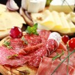 Salami and cheese platter with herbs — Stock Photo #10092313