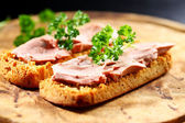 Bruschetta with liver pate — Stock Photo