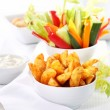 Raw vegetable and wedges with dip — Stock Photo #8497830