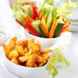 Vegetable snack and wedges with dip - 图库照片
