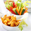 Vegetable snack and wedges with dip - Stok fotoğraf