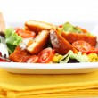 Stock Photo: Mixed vegetable salad with baked camembert