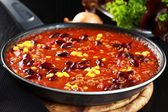 Chilli con carne in pan — Stock Photo