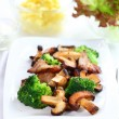 Roasted pork meat with shiitake mushrooms — Stock Photo