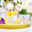Постер, плакат: Place setting for Easter with crocuses