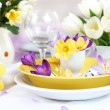 Place setting for Easter with crocuses — Stock Photo