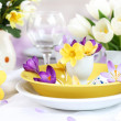Place setting for Easter with crocuses — Stock Photo #9384189