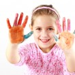 Little girl with painted hands — Stock Photo #9384642