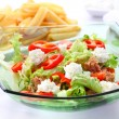 Mixed vegetable salad with tuna and cottage cheese — Stock Photo #9461944