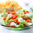 Mixed vegetable salad with tuna and cottage cheese — Stock Photo