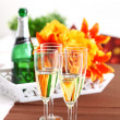 Stock Photo: Sparkling wine on table