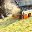Using a scarifier — Stockfoto