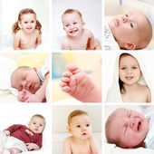 Babies and kids collage — Stockfoto