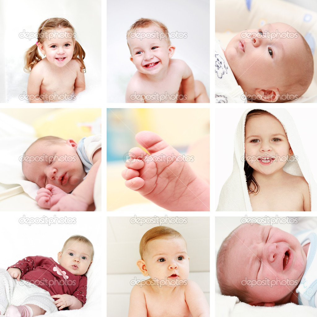 Collage of different photos of babies and kids — Stock Photo #9947144