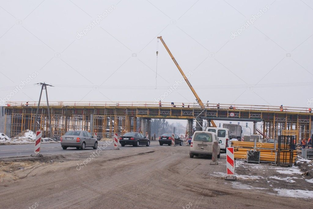 Place of road S17 building from Piaski to Lublin, Poland. 14 February 2012 — Stock Photo #9019285