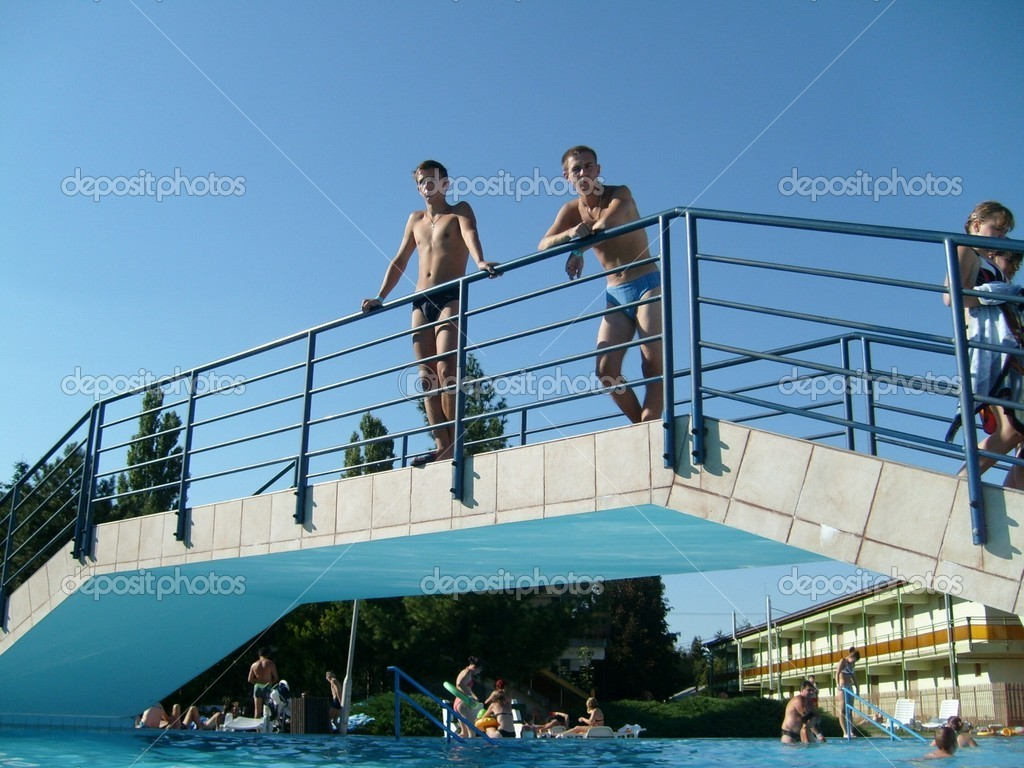 Thermal swimming pool in Hajduszoboszlo, Hungary. 20 August 2010 — Stock Photo #9192948