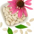 Echinacea purpurea extract pills, alternative medicine concept — 图库照片
